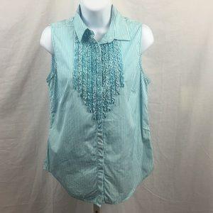 Ralph Lauren sleeveless button up ruffle top